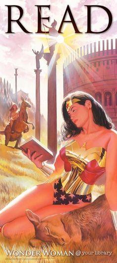 美國圖書館協會(American Library Association)與 DC 漫畫合作  請到美漫大師 Alex Ross 繪圖,  以 DC 三大當家主角讀書畫面當宣傳海報  在蝙蝠俠和超人之後今天分享最後一張  唯一的女性角色,也是唯一看起來讀得最舒服的角色──  Wonder Woman~