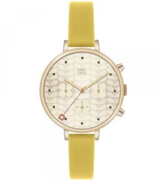 Buy Yellow/Gold Orla Kiely Women's Slim Strap Chrono Leather Strap Watch from our Women's Watches range at John Lewis & Partners. Yellow Jewelry, Gold Jewelry, Flower Jewelry, Jewellery, Orla Kiely Watch, Yellow Leather, Gold Flowers, Second Hand, Flower Prints
