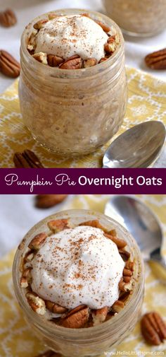 Healthy overnight oats in a jar . an easy breakfast recipe with all the flavors of your favorite Thanksgiving dessert! These easy overnight oats with milk are the perfect fall breakfast . or enjoy them anytime of yea Overnight Oats With Milk, Pumpkin Overnight Oats, Overnight Oatmeal, Overnight Breakfast, Oats Recipes, Pumpkin Recipes, Gourmet Recipes, Recipes Dinner, Recipes With Milk