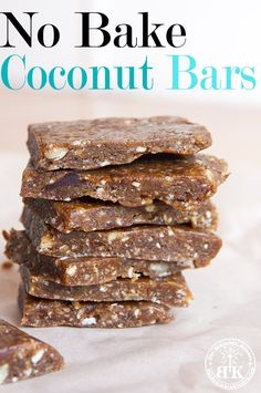 A delicious raw recipe for Larabar inspired No Bake Coconut Bars. Healthy, raw, no added sugar and super yummy (let's not forget easy).