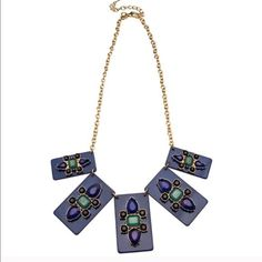 Art Deco Lucite Necklace I have five (5) in stock. Comment to buy yours. 18k gold plated resin statement necklace. Very Art Deco, looks great on. Retail $48 T&J Designs Jewelry Necklaces