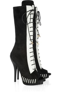 Versace - Suede and leather calf boots