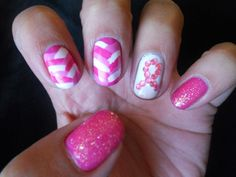 breast cancer nail art | Breast Cancer Awareness Nails! :) | Nail Art