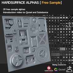 20 Free Hardsurface Height/Alphas by Jonas Ronnegard – zbrushtuts Zbrush Tutorial, 3d Tutorial, Zbrush Environment, Hard Surface Modeling, 3d Modeling, Alpha Pack, Game Textures, Blender Tutorial, Game Concept