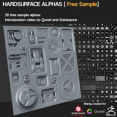 ZBrush/SP/Quixel - 20 Free Hardsurface alpha maps