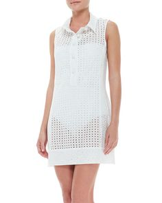 Nanette Lepore Ooh La La Eyelet Short Sleeveless Coverup Dress