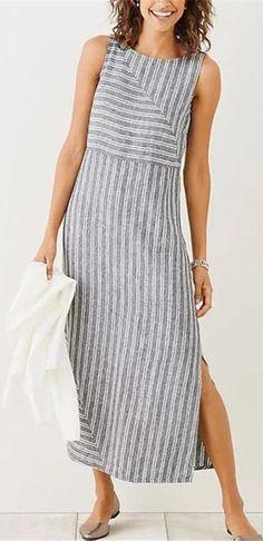 ba6b609907d Holiday Shift Slit Striped Sleeveless Dress