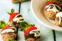 Red Velvet Chocolate Covered Strawberries With Cream Cheese Drizzle from French Toast, Cheesecake, Salad, and 20 Other Recipes to Make With Berries