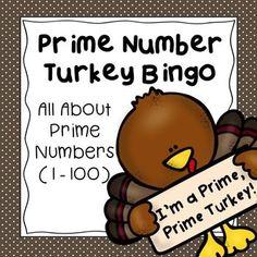 Math, Prime Numbers, Elementary Math, Bingo, Game-based Learning, Thanksgiving, Fun