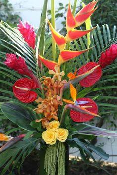 Tropical ceremony pedestal arrangement   Private Residence   San Clemente, CA
