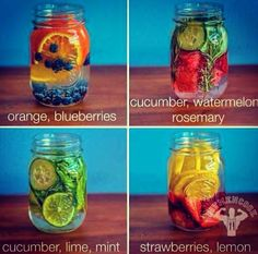 4 REAL vitamin water to help with detox, hydration and energy Infused Water Recipes, Fruit Infused Water, Infused Waters, Flavored Waters, Water Detox Recipes, Healthy Water, Healthy Drinks, Nova Dieta Dukan, Blueberry Water