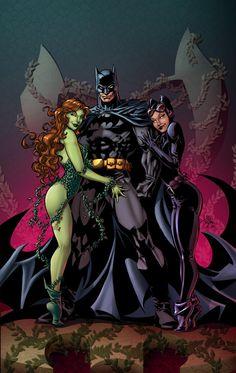 Batman, Poison Ivy and Catwoman by Mike Deodato, Jr. and Owen Jollands Batman And Batgirl, I Am Batman, Batman Art, Superman, Poison Ivy Batman, Alex Ross, Gotham City, Comic Books Art, Comic Art