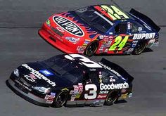 Dale Earnhardt and Jeff Gordon racing at of the very best Nascar Autos, Nascar Race Cars, Nascar Sprint Cup, Sprint Cars, Carros Nascar, Nascar Season, Talladega Superspeedway, The Intimidator, Nascar Diecast