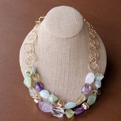 Multi Gemstone Necklace - Amethyst, Citrine, Prehnite, Aquamarine, Gold Chain. $88.00, via Etsy.