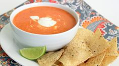 Creamy Roasted Red Pepper Soup with Cilantro-Lime Sour Cream. On the to-make list!