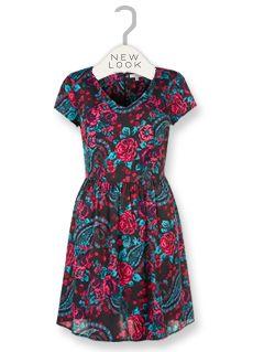 Robe imprimé cachemire et fleurs roses et bleu