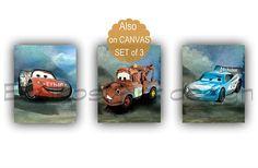 Kids Nursery Prints: McQueen Cars print, Tow Mater Art Print, McQueen d. Nursery Decor Boy, Boy Decor, Boys Room Decor, Nursery Prints, Nursery Wall Art, Wall Art Prints, Tow Mater, Name Canvas, Wall Decor Set