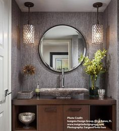 Regatta Pendant Hanging Lights In Bathroom, Pendant Light In Bathroom, Round Bathroom Mirror, Hall Bathroom, Round Wall Mirror, Family Bathroom, Wood Bathroom, Bathroom Lighting, Bathroom Towels