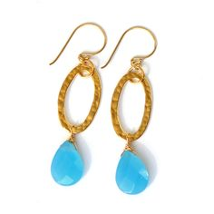 Blue Chalcedony Earrings Hammered Gold Links by rubyskydesign