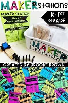 40 simple Maker Stations for Kindergarten and First Grade Makerspaces! Includes QR code resources and planning/reflection sheets for engineering, science, art, math, music, and technology.