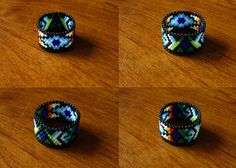 Rain Dreams Ring Seed Beaded Peyote Stitch by Elewmompittseh