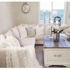Living Room decor ideas - Romantic, shabby chic style. Large sectional {neutral color palate}