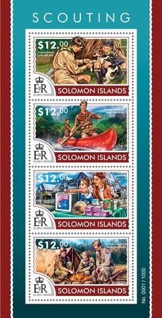 Post stamp Solomon Islands SLM 15311 aScouting (Scouts taking care of a dog, Scouts kayaking down the river, Scout girls selling cookies, Scouts preparing food over the fire)