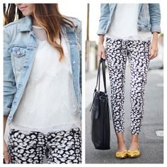 Lace top, denim jacket, printed skinny pants, pointy toed bow flats