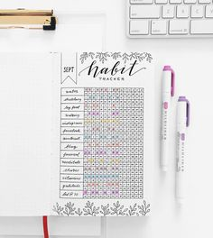 What an absolutely gorgeous habit tracker! I love using habit trackers in my bujo to help keep an eye on what I need to improve and what's going well for me. They're super useful for improving your health and productivity. Bullet Journal Tracker, Bullet Journal Page, Bullet Journal Themes, Bullet Journal Spread, Bullet Journal Inspo, My Journal, Journal Pages, Bullet Journals, Tool Tracker