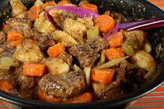 Beef Stew...cooked on top of stove... fork tender meat...