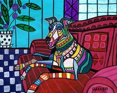 Greyhound art dog Poster Print of painting by by HeatherGallerArt