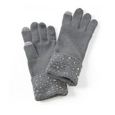Simply Vera Cold Weather Embellished Knit Gloves One Size,Dove Grey #SimplyVeraVeraWang #WinterGloves #Winter