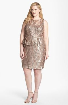 Gold cocktail dress. Plus size dress. By Adrianna Papell find out more stunningdresses.net