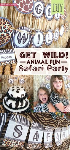 Get Wild african Animal party Safari theme Party Printables - Press Print Party! Loads of great ideas!  jungle safari party, decorations, food, ideas, games, favors, invitation, printables, DIY, animal print cake, table decor, snacks, banners, birthday, DIY backdrop, kids party, safari craft ideas #safariparty