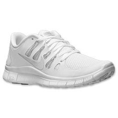 PERFECT FOR NURSING SCHOOL!!  Women's Nike Free 5.0+ Running Shoes | FinishLine.com | White/Metallic Silver/Pure Platinum