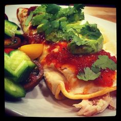 Note: The Easy Paleo Meals series is here to give you inspiration for quick meal combinations. To make these chicken enchiladas, combine: Shredded rotisser