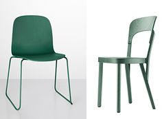 The Visu chair is European ash painted with mossy green, design by Mika Tolvanen, Muuto. The new Stadler chair is from Thonet.