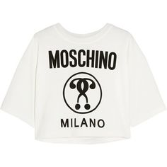 cff8bd1cf0 Moschino Cropped printed jersey T-shirt (575 MYR) ❤ liked on Polyvore  featuring