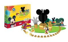 1847.6 - Blocos de Madeira Mickey Club House Disney | Com 151 peças em madeira reflorestada. | Faixa etária: + 3 anos | Medidas: 35 x 6 x 27 cm | Licenciados | Xalingo Brinquedos | Crianças