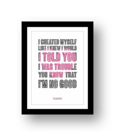 Amy Whinehouse  - typography song lyric poster art unframed limited edition print #29 by RetrotypePrints on Etsy