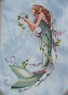 Queen Mermaid cross stitch by Mirabilia Designs