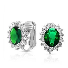 Bling Jewelry Crown Set Oval Green Emerald Color CZ Clip On Bridal... ($27) ❤ liked on Polyvore featuring jewelry, earrings, green, green earrings, emerald earrings, bridal earrings, green stud earrings and stud earrings