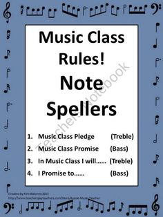 This file contains FOUR note speller activities for the start of a new school year! The Topic of each Note Speller is: 1 Music Class Pledge treble notation 2 Music Class Promise bass notation 3 In Music Class I Promise to …… treble notation 4 I Promise to …… bass notation