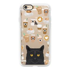 Black Cat cell phone case for cat lady coffee lovers - iPhone 6s... ($40) ❤ liked on Polyvore featuring accessories, tech accessories, iphone case, clear iphone cases, apple iphone cases, iphone cover case, iphone cases and cat iphone case