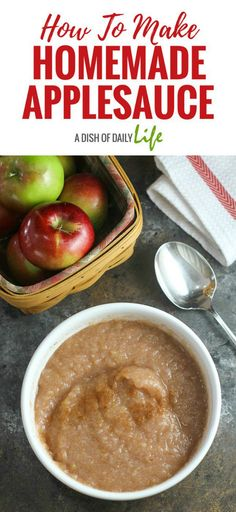 Learn how to make homemade applesauce...you won't believe how easy it is! Two ingredients plus a little water is all you need for this applesauce recipe!