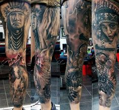Phenomenal Native American Tattoo Mens Legs