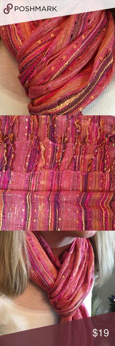 PINK SCARF WITH SHIMMERING THREADS Beautiful pink scarf with multi colors and shimmering threads throughout 🌺 Accessories Scarves & Wraps