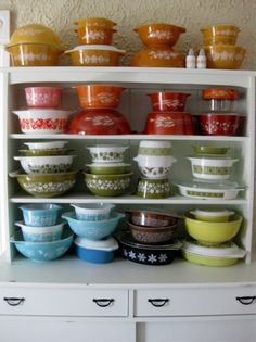 I have a couple different 'pieces' of the vintage patterns. Of course vintage pyrex gets my attention!