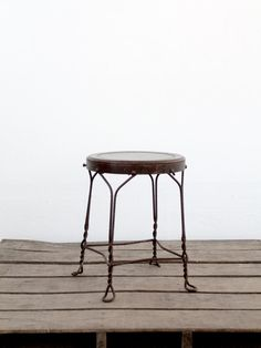 Vintage Cafe Stool / Brown Metal Stool by 86home on Etsy, $125.00