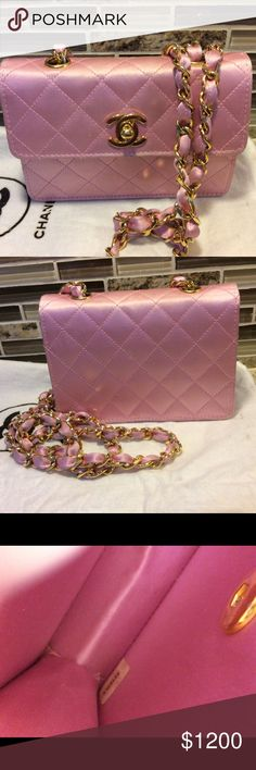 845f733a49c1 Authentic Chanel pink satin quilted mini flap bag This is a beautiful rare  vintage pink satin